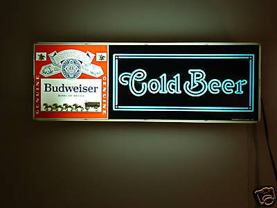 Classic Budweiser 1979 Electric Cold Beer Sign 03-4