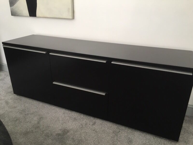 superb habitat black high gloss lacquer sideboard tv av cabinet 180cm long in shoreham by sea. Black Bedroom Furniture Sets. Home Design Ideas