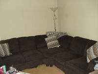 Chenille Brown sectional couch