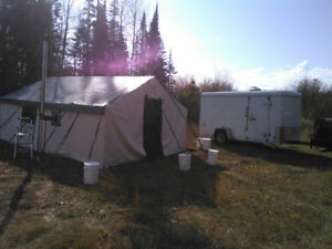 Deluxe Wall Tent 12' x 14' plus Enclosure and Wood Stove Package