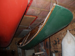 14' Green Cedar strip canvas covered canoe beautifully rebuilt