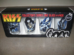 4 Collector's Series Pint Glasses feat. Gene,Paul,Ace,Peter-new