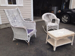 Wicker chair, rocker and coffee table