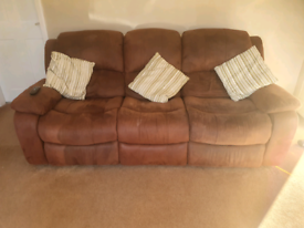 Brown leather 3 seater and 2 seater with 4 manual recliners