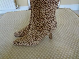 Leopard print suede/leather mid heel stiletto ankle boots