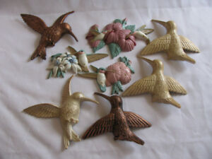 Vintage Hummingbird Wall Plaque Sets 8PC Coppercraft & Burwood