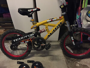"""16"""" boys bicycle / bike - twin suspension (front & back) + train"""