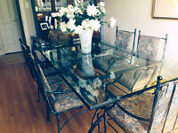STUNNING BEVELLED GLASS DINING TABLE & SIX CHAIRS, ETC