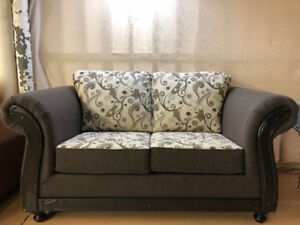 BRAND NEW TWO TONE LOVE SEAT WITH WOODEN TRIM
