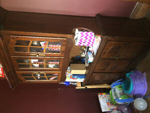 Solid wood Dinning room set. Tables chairs and buffet hutch