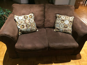 Brown Microsuede Love Seat, pet free, smoke free home