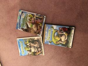 Dreamworks DVDs shrek (1,2,3)