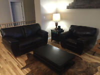Leather living room loveseat (couch) and chair & coffee table