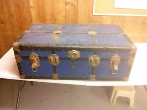 Antique travel trunks.