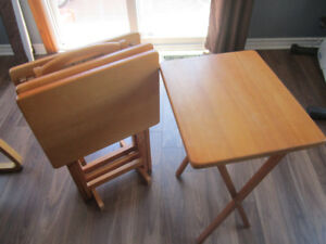 Oak TV Dinner Tables and Stand
