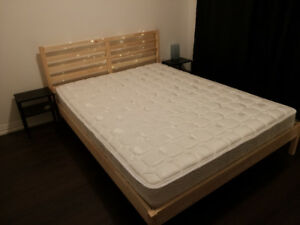 Queen Size Bed Frame + Coil Queen Mattress**Like New Condition**