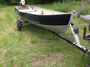 14 ft kingfisher aluminum boat, motor and trailer with oars