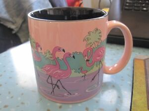 Vintage Russ Pink Flamingo Ceramic Coffee Cup Mug