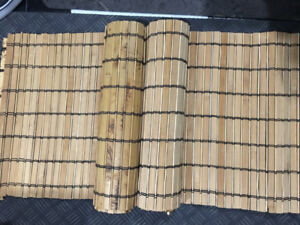 Two wooden bamboo runner rugs - 14in X 6ft