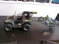 "Large 1993 GI JOE Hasbro 18"" Rhino Jeep w Motorcycle"