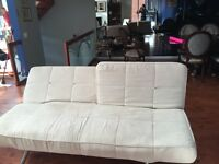 Cream Futon sofa, with single chair sofa