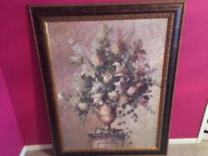 "Huge Framed Painting – 45"" by 57"" – vase of flowers"