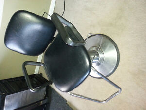 Salon hair chairs, hair sink with mount and rolling storage.