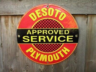 DESOTO PLYMOUTH PORCELAIN-COATED SIGN