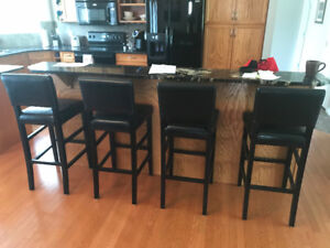 6 Leather Kitchen Stools with Backs
