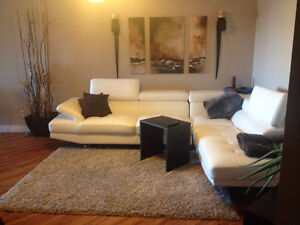 White Bonded Leather Couch Windsor Region Ontario image 1
