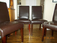 4 Parson Dining Chairs - Bonded Leather is Damaged