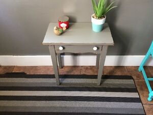 Grey distressed accent table with ceramic knobs and small drawer London Ontario image 3