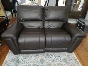 Loveseat Power Reclining Sofa in Dark Brown Leather