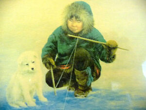 """Inuit Painting by Dorothy Francis """"Little Fisherman"""" Lithograph Stratford Kitchener Area image 3"""