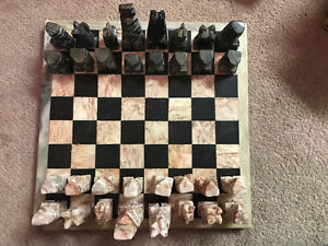 Antique marble/stone chess set