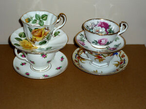 4 Bone China Tea Cups & Saucers : No chips or scratches .. Cambridge Kitchener Area image 2