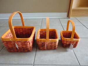 Brand new with tags set of 3 orange colour nesting baskets decor London Ontario image 1