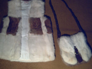 REAL RABBIT FUR VEST  WITH MATCHING PURSE