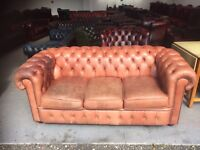 Chic leather Chesterfield 3 seater sofa del available