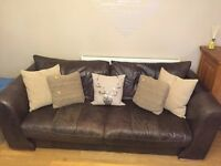 3 seater leather sofa and matching foot stool