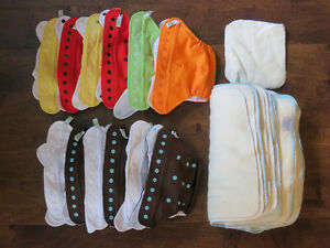 NEW:12 Baby Kangas pocket cloth diapers (10-35lbs) + liners