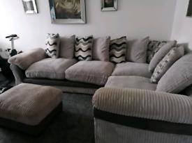 Corner sofa swivel chair and footstool