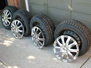 """SET OF FOUR 16"""" SNOW TIRES ON GM RIMS WITH FREE COVERS"""