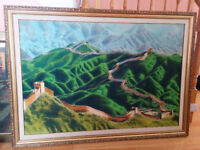 Large Great Wall of China Wall Art-$100/Pair of Table Lamp-$40