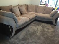 LARGE DFS CORNER SOFA AND MATCHING SWIVEL CHAIR