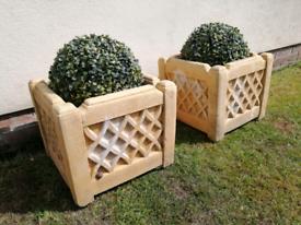 Sand stone planters x 2