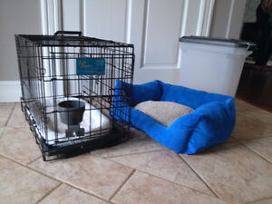 Dog Cage, Bed, Food Bin