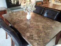 Marble Dining Set with 4 Chairs