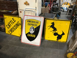 3 LARGE VINTAGE METAL SIGNS AMEX HORSE BUGGY CATTLE CROSSING