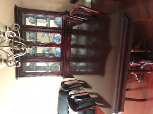 Mahogany Dinning table set(6chairs)plus glass consol
